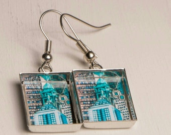earring Collection symbiosis Montreal Blue Rectangle
