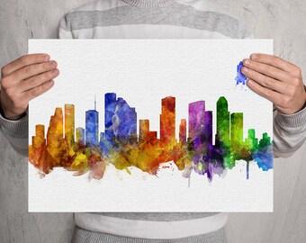 Houston Skyline Print, Houston Texas Wall Art, Houston Nursery Decor, Houston Painting, Houston Office Decor, Houston Wall Hanging (A0567)