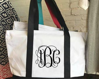 Canvas Tote Bag-Canvas Boat Tote Beach Bag-Monogrammed Bridesmaid Gift-Personalized Boat Tote-Brides Tote Bag-Monogram Boat Tote