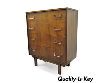 Vintage Mid Century Modern Danish Style Walnut & Chrome 4 Drawer Chest Dresser