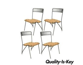 Set of 4 Vtg Maurizio Tempestini Salterini Ribbon MCM Modern Iron Dining Chairs
