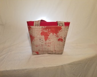 Red map purse