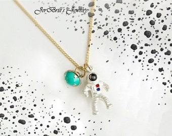 Astronaut Figure Spaceman Space Planet Moon Chic Pendant Necklace by JerBrill.