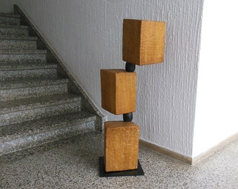 Unique adjustable abstract sculpture from oak wood-golden city-