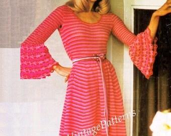 Crochet Dress Pattern ... Ladies  Hostess Dress ... PDF Crochet Pattern ... Party, Dinner Dress .. Wedding Dress .. Instant Download Pattern