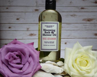 Rose Geranium Bath and Shower Oil / Blooming Bath Oil, Aromatherapy, Natural Skincare