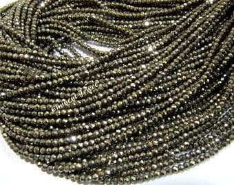 AAA Quality Natural Pyrite Tiny Beads / Pyrite Rondelle Faceted 2 mm Micro Faceted Beads / Strand 13 inch / Exceptionally Best Quality Beads