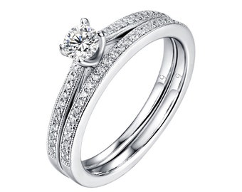 Beau Collection Petite 1/5 ct Diamond Engagement Ring in 14kt White Gold