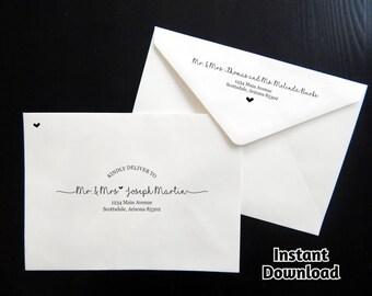 Wedding Envelope Template - Printable Envelope Address Template, Rustic Handwriting Instant Download Digital File Editable PDF A7, Christmas