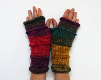 Multi Color Fingerless Gloves, Knit batik Gloves, Knitted Gloves, Hand Warmers Multi Color Arm Warmer, Knit Gloves, Knit Wrist Warmers