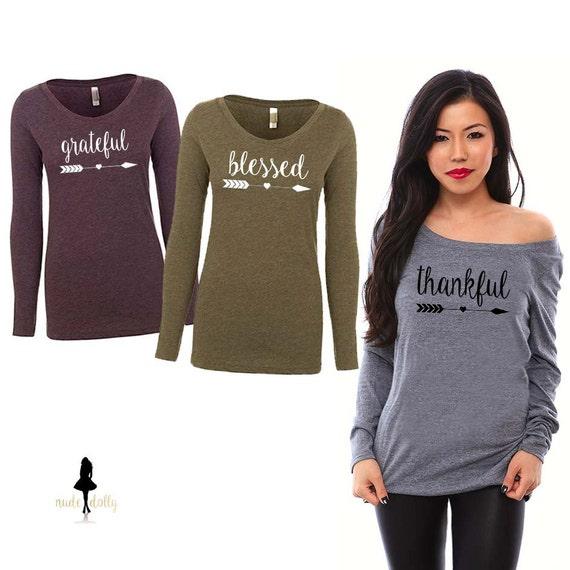 Thanksgiving Shirt. Thankful. Grateful. Blessed. Thankful Shirt. Blessed Shirt. Thankful TShirt. Holiday Shirt. Off the Shoulder Shirt.