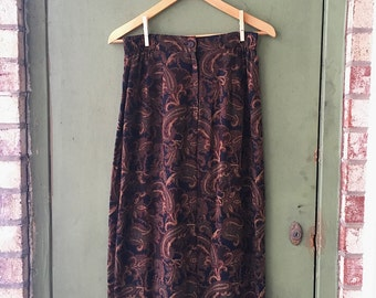 60's Paisley High Waisted Skirt // Coffee Colored Paisleys // Classy Skirt // Lotus Flower // Bohemian 60's and 70's