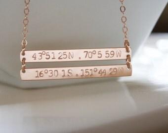 Rose Gold Coordinates Bar Necklace, Custom GPS Coordinates,Latitude Longitude, Two Gold Bar,Hand Stamped, 14k Gold Fill, Rose Gold, Silver