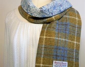 Harris tweed/ Liberty of London scarf, handmade