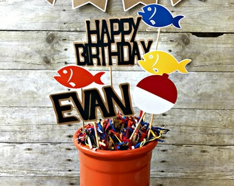 Fishing Centerpiece - gone fishing - the big one - party supplies