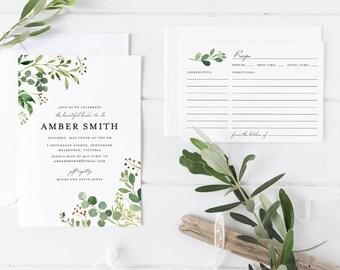 Printable Bridal Shower Invitation Set, Green Leaves Wreath Bridal Shower Invitation with matching Recipe Card