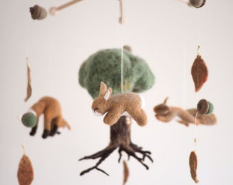 Custom made baby mobile needle felted mobile custom design to match nursery theme felt animal mobile