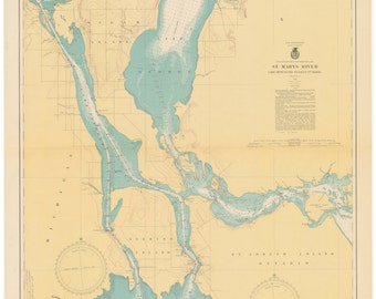St. Mary's River Map - Lake Munuscong to Sault Ste Marie - 1940