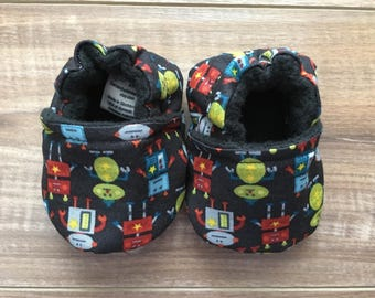 Robot Baby Booties, Baby Boy Shoes, Soft Sole Shoes, Baby Shoes, Infant Shoes, Non Slip Shoes, Baby Shower Gift