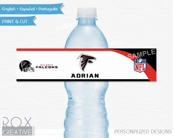 Atlanta Falcons Party Water Labels, Falcons Printable Labels, Digital – Customized