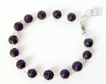 Aromatherapy Bracelet, Black Lava Rock Bead Bracelet, Perfume Jewelry, Boho Festival Bracelet, Bridesmaid Gift