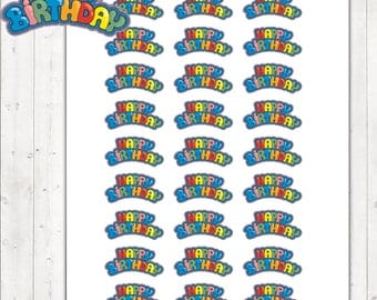 Happy Birthday Stickers, Happy Birthday Planner Stickers – Will fit any planner – 2032