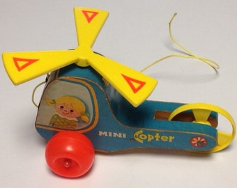 Vintage Fisher Price Mini-Copter Pull Toy