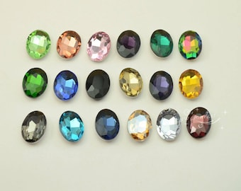 72 PCS 18mm x 25mm Colour Glass Faceted Glass Oval Jewels