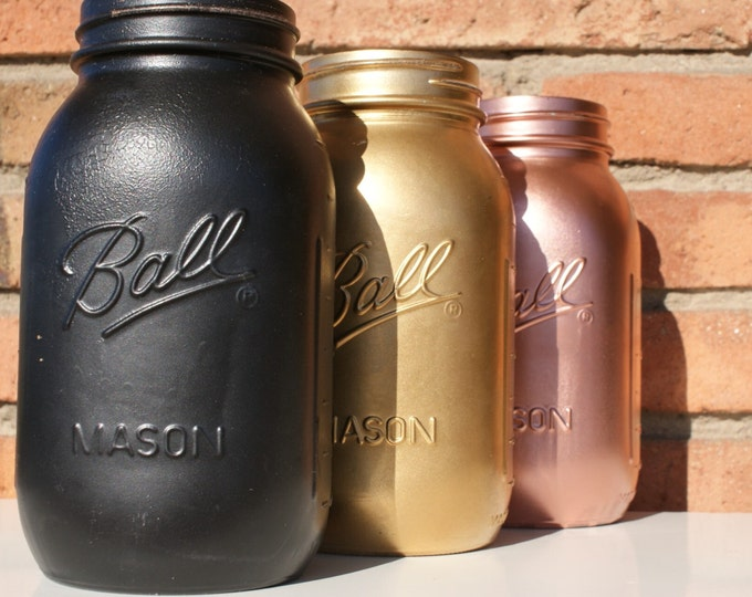 Matte Black Ball Mason Jar // Flower Vase // Pen Pot // Desk Tidy // Makeup Brush Storage // Wedding Centrepiece // Table Decor // Gift Idea