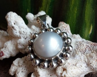 Sterling silver pearl pendant with sterling silver chain