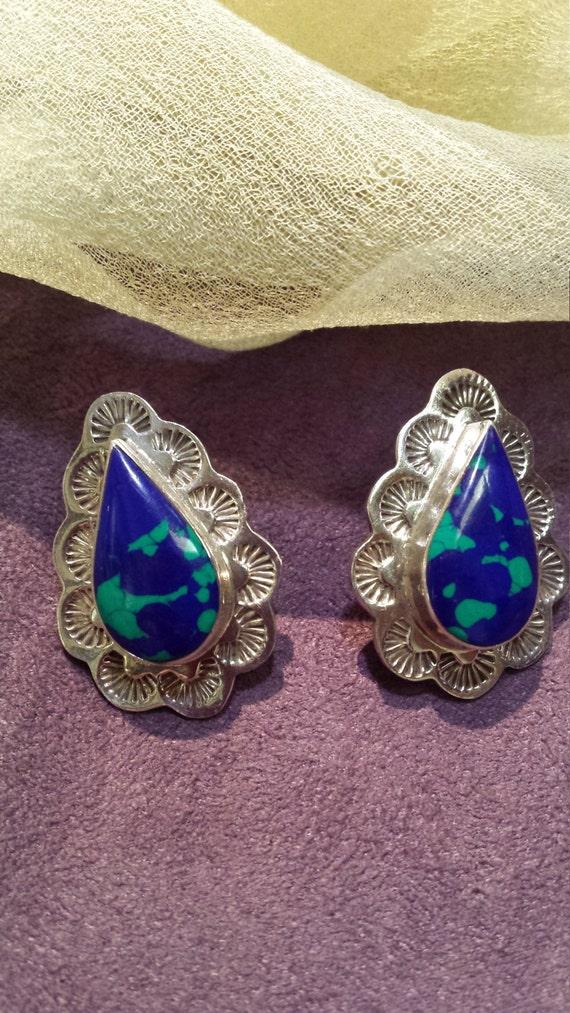 Lapizlazula sterling silver native American earrings