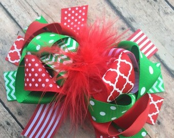 Christmas bow - loopy ribbon hairbow - feather heairbow - OTT Hairbow - big hairbow - holiday hair bow - hair clip - polka dots - chevron