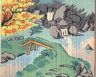 Japanese Ukiyoe, Original Sosaku Hanga, vintage, Tokuriki Tomikichiro. Daigo-ji Temple Sampo-in.