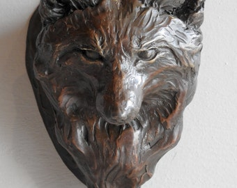 Fox Knock, cast bronze door knocker of a red fox sculpture by Canadian Artist Kindrie Grove