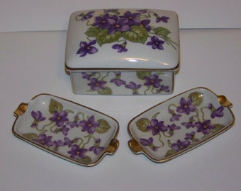 Porcelain Cigarette Box with Lid and 2 Ashtrays Mitterteich Germany