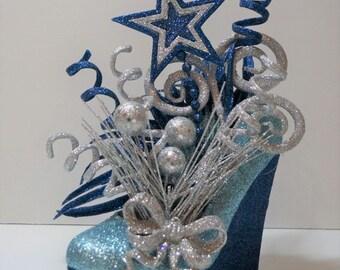 Shoe Centerpiece - Cowboys Light Blue