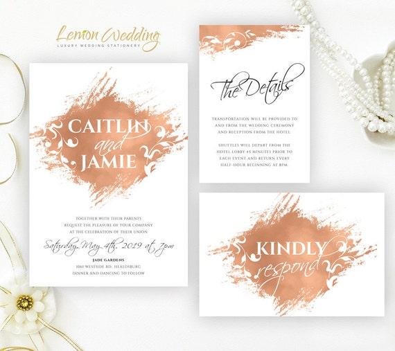Wedding Invitation Cheap: Rose Gold Wedding Invitations Cheap Wedding Invitation Kits: