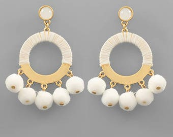 White PomPom Circle Earrings