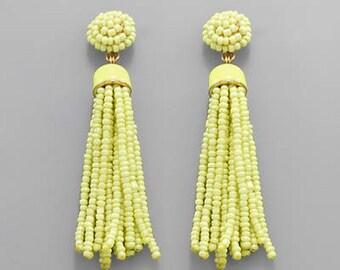 Lime Green Seed Bead Tassel Earrings