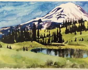 Mount Rainier, Mountain painting, Cascades painting, Pacific Northwest, Northwest watercolor, Washington state, Mountain watercolor, Rainier