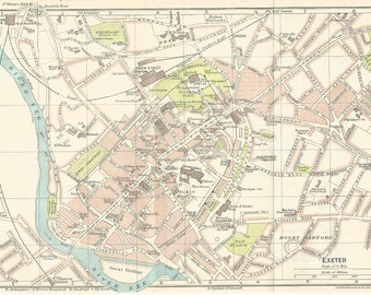 1917 map of exeter england antique map  vintage wall decor.