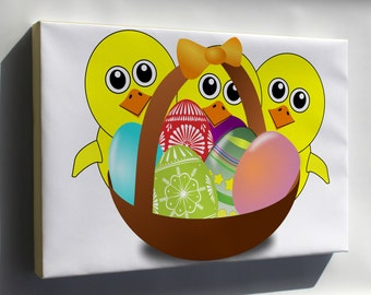 Canvas 24x36; Easter Chicks
