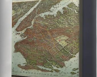 Canvas 24x36; Birdseye View Map Of Brooklyn New York City 1908