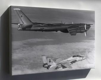 Canvas 24x36; Soviet Tupolev Tu-95 Bear D Intercepted By F-14A Tomcat 1985