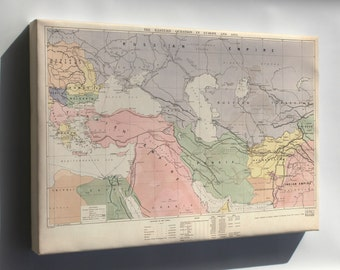 Canvas 24x36; Map Of Middle East Turkish Empire Persia 1886