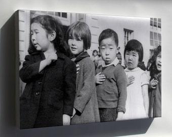 Canvas 24x36; Japanese American Children Pledging Allegiance 1942