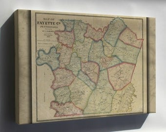 Canvas 16x24; Map Of Fayette Co., Pennsylvania 1865