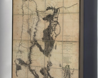 Canvas 16x24; Map N California To Columbia River 1855