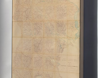 Canvas 16x24; Map Of A Part Of Eastern North Carolina 1864