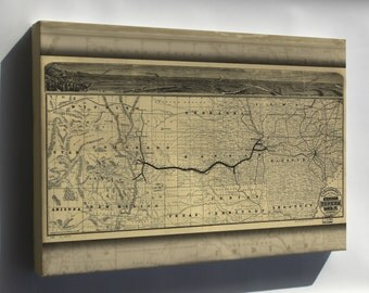 Canvas 16x24; Map Of Atchison Topeka And Santa Fe Railroad 1880
